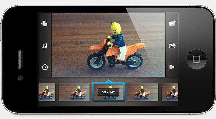 An iPhone displaying the project view in Frameographer. The preview screen shows a Lego man riding on a motorcycle.